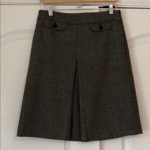 JCrew brown wool herringbone skirt